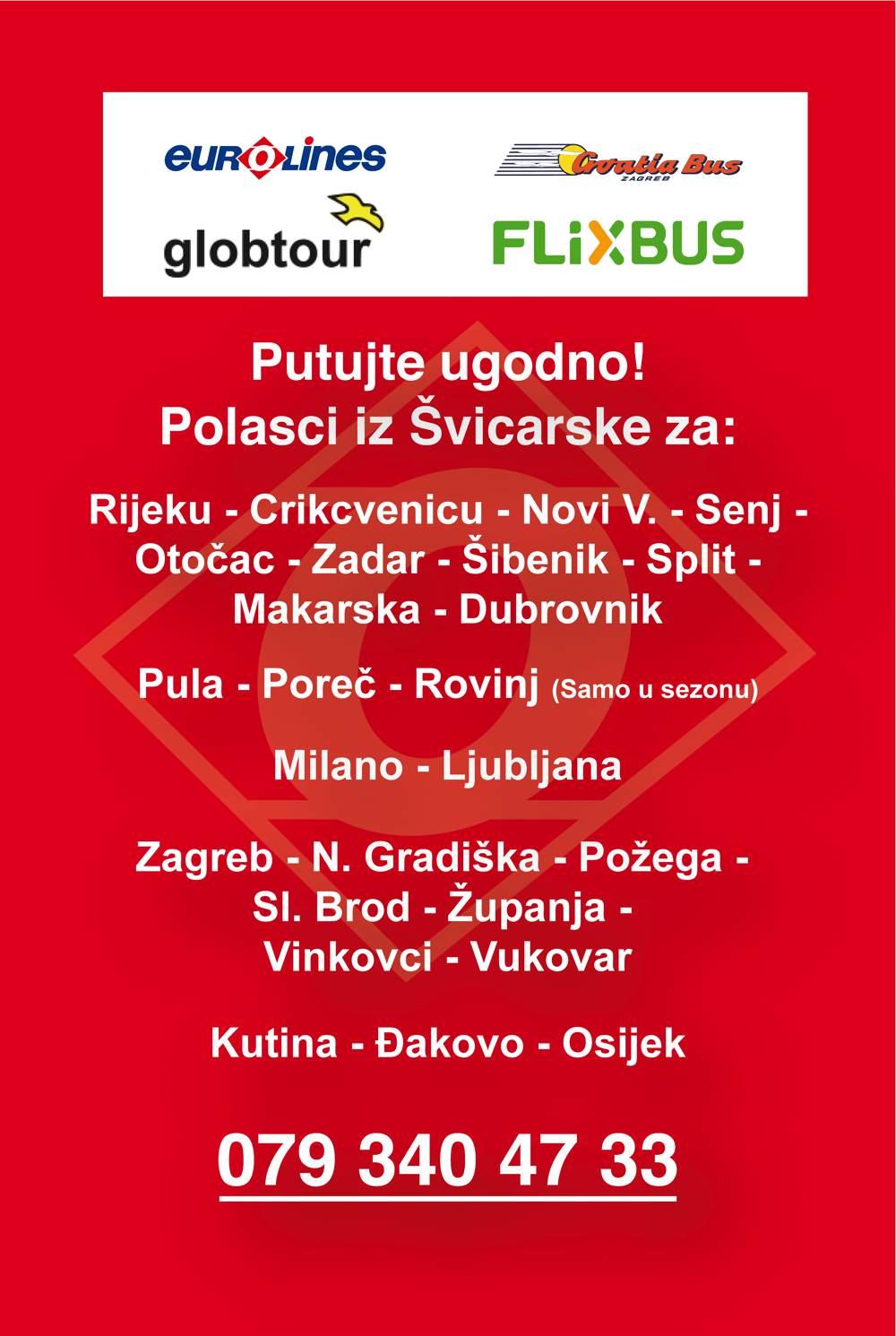 Eurolines, Croatia Bus, Flixbus, Globtour, eurolines24, Carreisen und Busreisen nach Kroatien, Rijeka, Crikcvenicu, Zadar, Sibenik, Split, Makarska, Ljubljana, Zagreb, Nova Gradiska, Vincovci